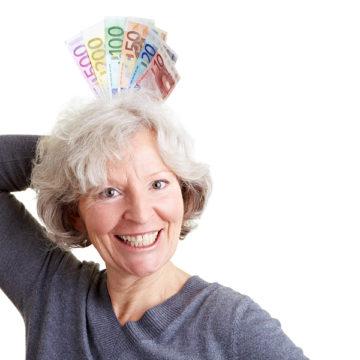 Senior Woman Winning Money
